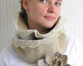 REDUCED Woodland Gold, oatmeal and gold cowl with lace