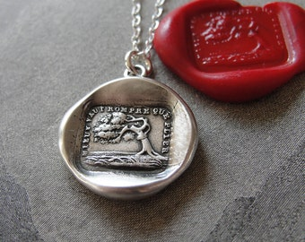 Better Bend Than Break Wax Seal Necklace Aesop fable Oak and Reed - antique wax seal charm jewelry with tree by RQP Studio