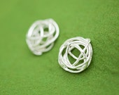 Clip on or pierced earrings - bird's nest - organic design jewelry - allergy free - non-allergenic earrings - free shipping