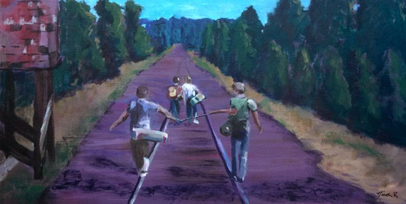 Stand By Me, Friendship, boys walking down railroad tracks, 80s movies, River Phoenix, boys bedroom decor, best friends, outdoors