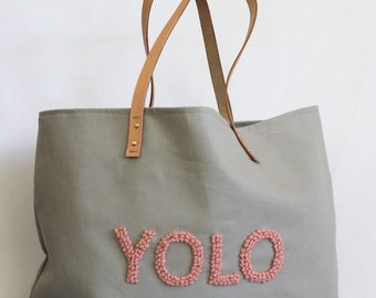 "Canvas Tote ... ""YOLO"" GRAY tote bag with PERSONALIZED label"