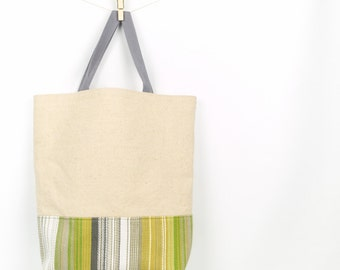 Linen and Stripe Market Tote Bag Reusable Grocery Bag