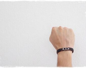 "Handcuff Bracelet, Men's Leather Bracelet, Leather Wristband, BDSM Leather Bracelet, ""Freedom"" Handcuff Leather Bracelet, Dom Leather Cuff"