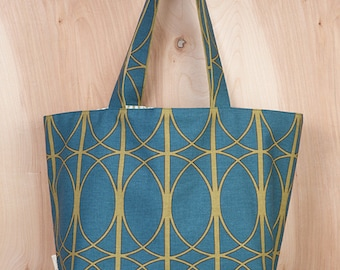 Beach Tote- Spirograph Canvas Tote bag- Circles Canvas tote- Blue Nile and Sassy Green- by beckyzimmdesign