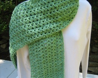 """Crocheted Scarf - Sage Green - Soft & Lacy - 8"""" x 56"""""""