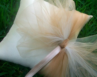 Ivory Ring Bearer Pillow, Cream Wedding Pillow with Champagne Ribbon: Toffee Ombre -Ivory Ring Pillow, Wedding Ring Pillow, Bridal Pillow