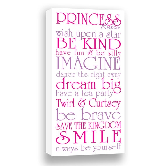 Princess Rules Gallery Wrapped Canvas  Girl's Room Decor  Girl Wall Art  Be a