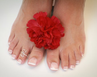 Double Wrapped Heart Toe Ring or Knuckle Ring