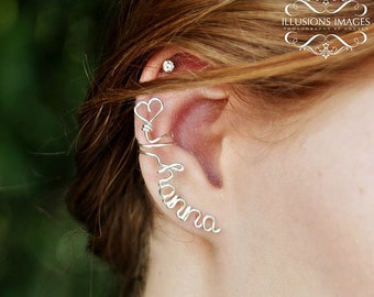 Buy 3, Get One FREE - Custom Name or word Ear Cuff - No Piercing Cuff- Made in Sterling Silver