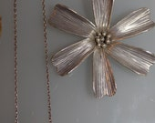 vintage daisy flower retro boho glam hippie sterling silver necklace 925 italy 1950s