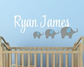 Elephant Wall Decal - Name Wall Decal - Wall Decal Nursery -  Personalized Boys Name with Elephants