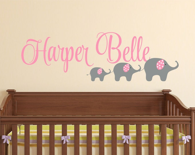 Elephant Wall Decal - Name Wall Decal - Girls Name Decal - Elephant Kids Wall Art - Wall Decals Nursery