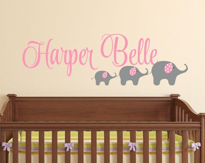 Elephant Wall Decal - Name Wall Decal - Girls Name Decal - Elephant Kids Wall Art - Wall Decals Nursery