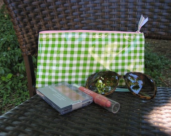 Zippered Oil Cloth Pouch-Green Gingham Check Cosmetic Bag--Purse Organizer--Preppy Pencil Pouch