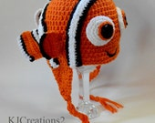Crochet Clown Fish hat (All size available) earflap hat