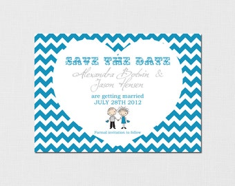 Printable Save The Date - Chevron Heart Design - You choose your colors