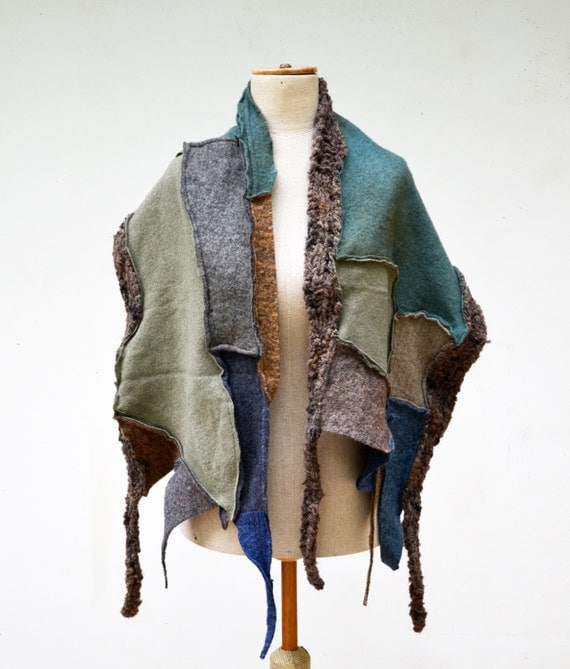 Fancy Felt And Knit Patchwork Shawl Wearable Art Blue By