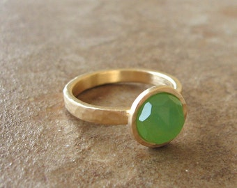 gold and green stone ring ,solitaire ring ,goldfilled ring.