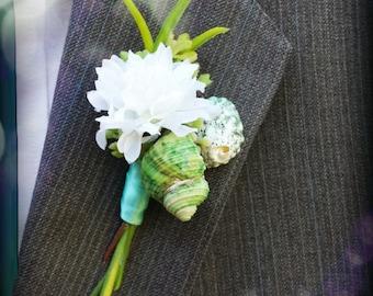 Mens Beach shell wedding SEASIDE boutonniere nautical