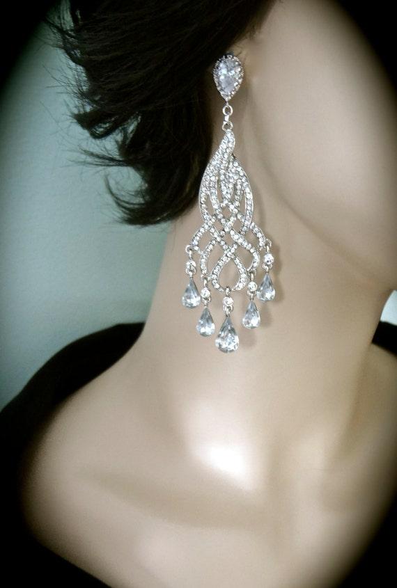 Rhinestone Earrings Long Chandelier By Queenmejewelryllc