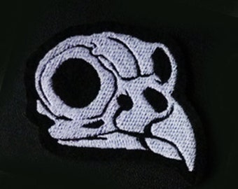 GLOW in the dark - Owl skull -  Embroidered sew-on patch