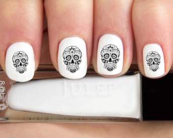 Black Outline Day of the Dead skull Nail Decals-24 ct.