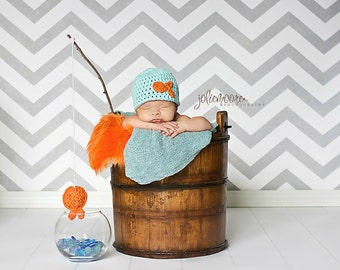 Newborn Boy Fish Beanie  - Newborn - Ready to Ship