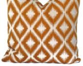 Robert Allen Ikat Fabric, Decorative Pillow, Accent Pillow, Throw Pillow, 18x18, 20x20,22x22, or 14x20 Lumbar Pillow, Mango and Cream