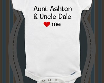 Custom baby onesie Aunt & Uncle Love (Heart) me - with child's aunt and uncle names