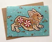 Corgi Gingerbread Cookie Christmas Winter Holiday Greeting Card