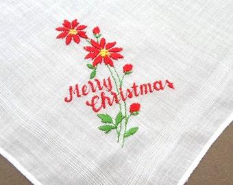 Embroidered Handkerchief, Handkerchief, Embroidered Hankies, Vintage Handkerchiefs, Holiday, Red, Hankerchief, All Vintage Hankies