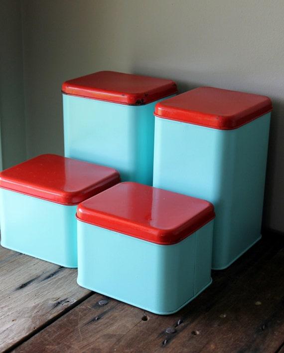 Kitchen Decor Turquoise: Metal Canister Set Vintage Blue Turquoise Aqua Red Retro
