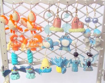 Pair of Random Pokemon Jewelry Earrings - Pikachu, Jiggypuff, Squirtle, Clefairy, Ponyta, Chansey, Gyarados, Mew, etc