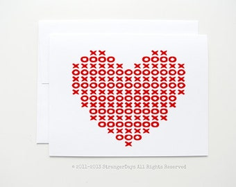 "Valentine Card "" xoxo heart"" Greeting card. I love you card."