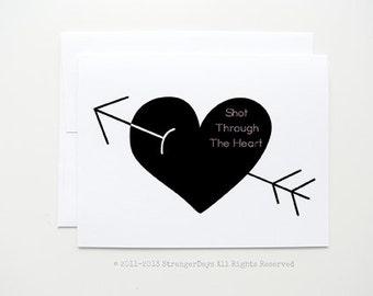 "Love Card "" Shot through the heart "" greeting card handmade by StrangerDays. Black heart. Arrow."