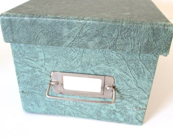 Green Index Card File Box - vintage