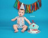 Cake Smash Outfit Boys Blue Argyle First Birthday Clothes - Birthday Party Outfit - Birthday Photoshoot