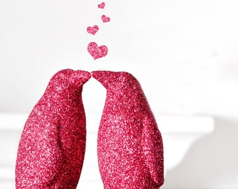 Two Kissing Penguins Glitter Wedding Cake Topper or Hot Pink Valentines Decoration. Entertaining, Baby Showers or Children's Nursery Decor