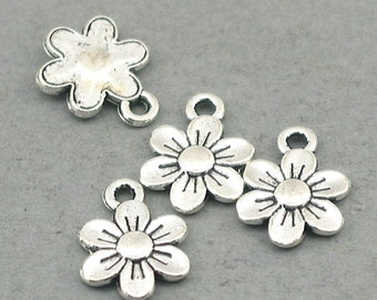 Daisy Flower Charms Antique Silver 12pcs pendant beads 9X12mm CM0666S