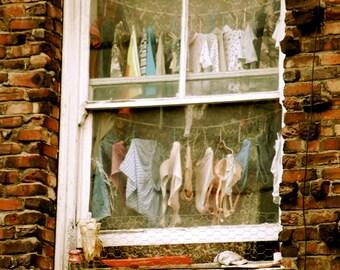 San Francisco, Laundry, China Town, Window, Streets, Brick Building, Life, Photography, California, Underwear, Panties, Photograph