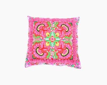 Cushion Cover with Pom Poms HMONG Hill Tribe Thailand FAIR Trade Handmade  (CS010P-WF8)