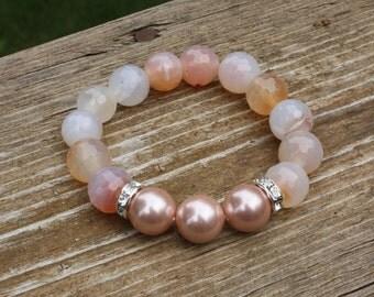 Stacking Bracelet - Spring Jewelry - Peach Gemstone and Shell Pearl Stretch Bracelet, Stack Bracelet, Gemstone Bracelet
