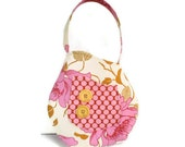 1950's Vintage Inspired Bag, Pink Flowers Mustard Leaves on Ecru Pink Dots on Brown Purse Tote 1950s Style