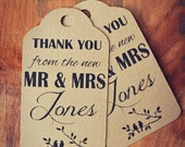 Thank You from the New Mr and Mrs Lovebirds Wedding Favour Tag Custom Birds on Branch