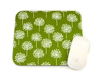 LAST ONE Dandelion Mouse Pad / Chartreuse Lime Green and White / Home Office Decor