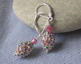 Swarovski Encrusted Ovals on Sterling Lever Backs, Pave Style Easter Egg Shaped Earrings, Multi-Colored, Sparkly, SpringTime, Mothers Day