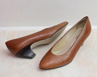 Vintage 80's Toffee Leather Heels Sz 7