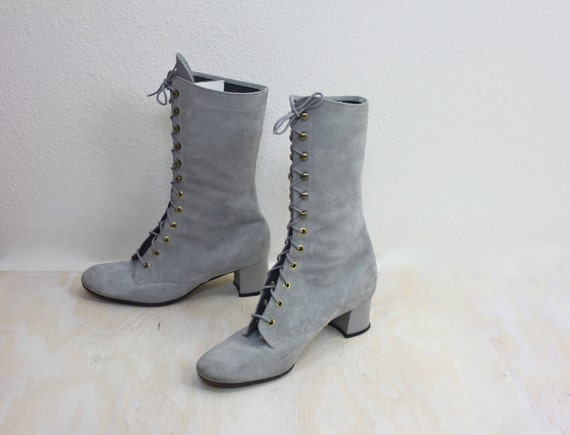 60's Vintage Pale Gray Suede Leather Victorian Lace Boots Sz 7M
