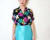 Vintage 80s Colorful Puzzle Print Short Sleeve Collared Shirt Blouse Top