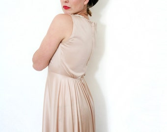 Vintage Nude Pale Pink Cocktail Dress Long Formal Evening Gown